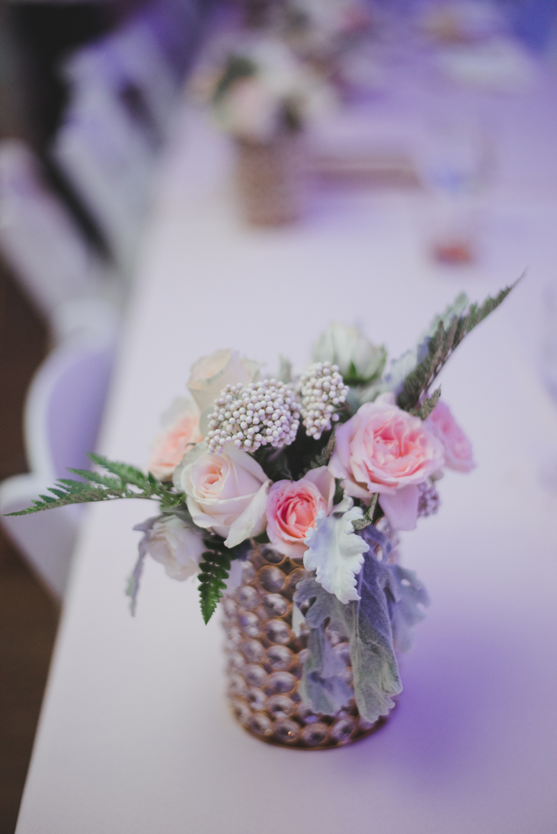 Pink white ivory crystal centerpiece