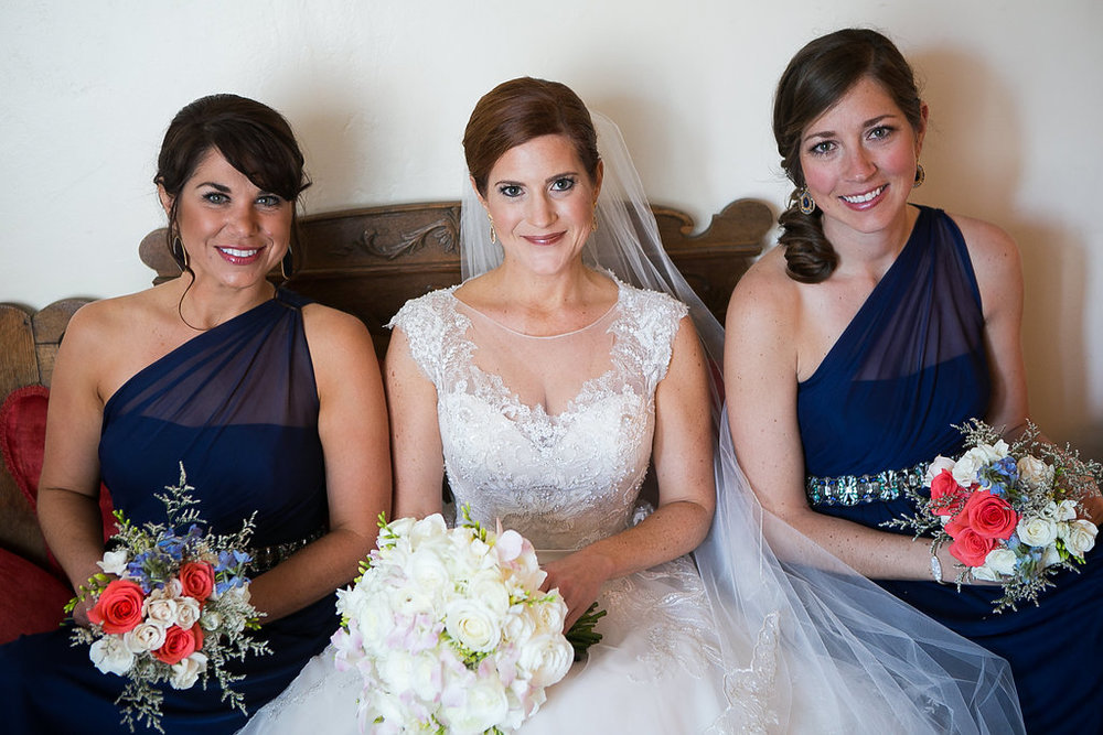 Bride & bridesmaids navy dresses