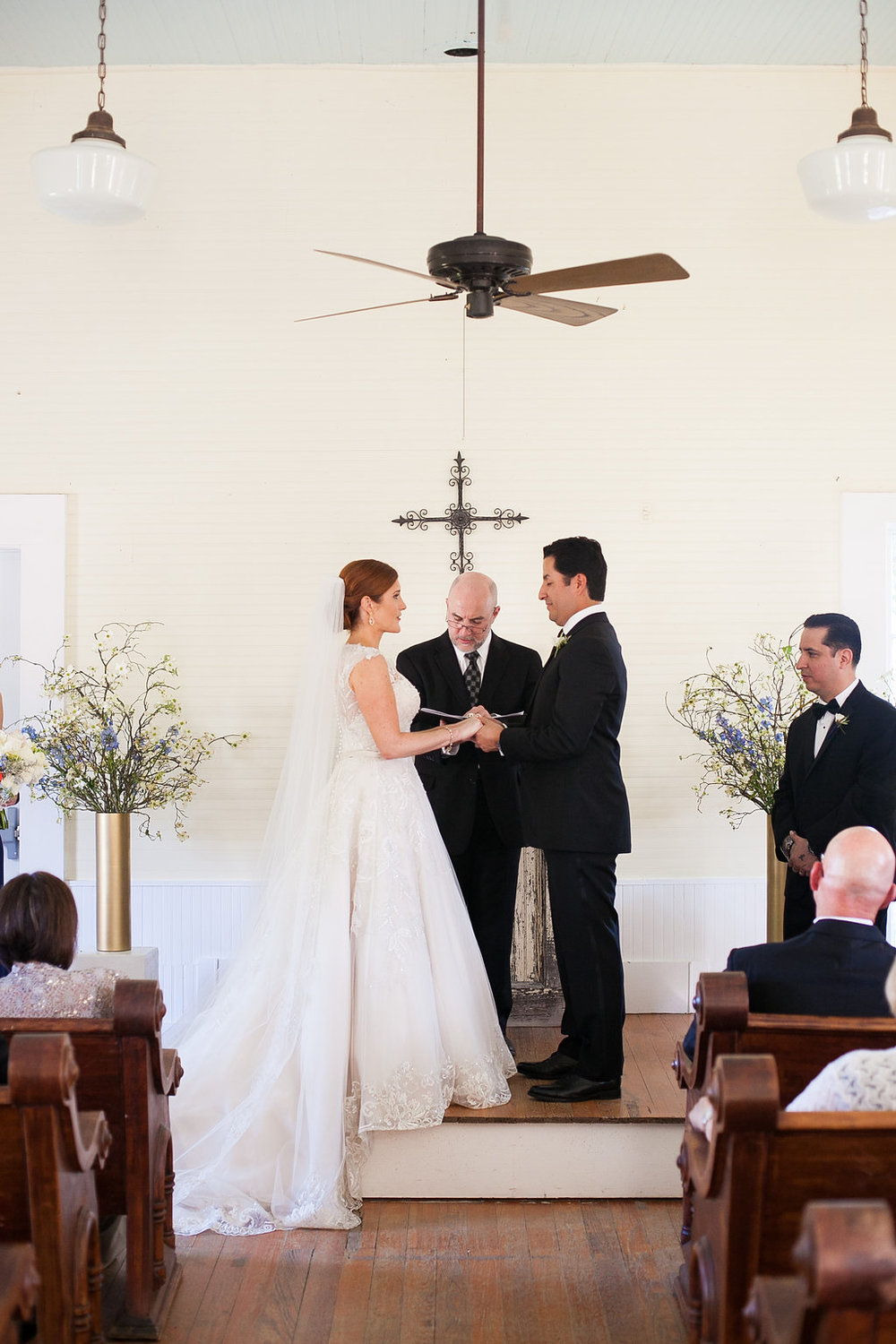 Bride & groom vows in Star Hill Ranch chapel