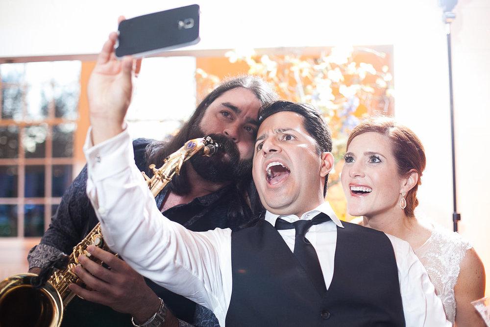 Bride & groom band selfie