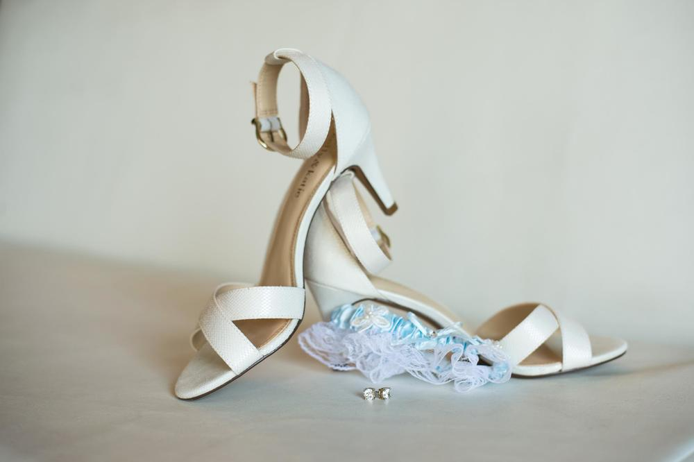 Bridal shoes & blue garter - something blue!