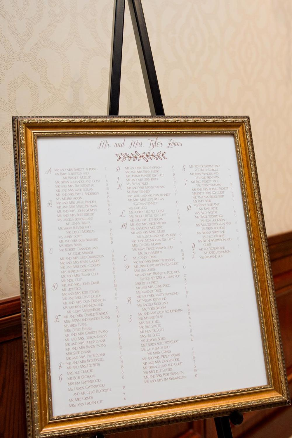 Simply Personal wedding seating chart