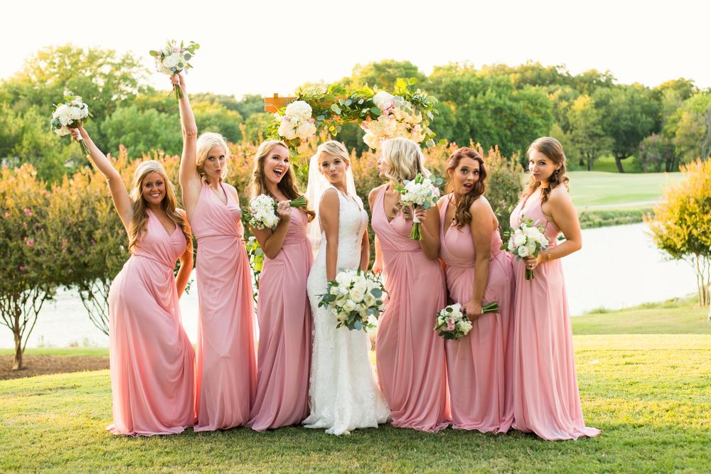 Sassy bride & bridesmaids outdoor portrait