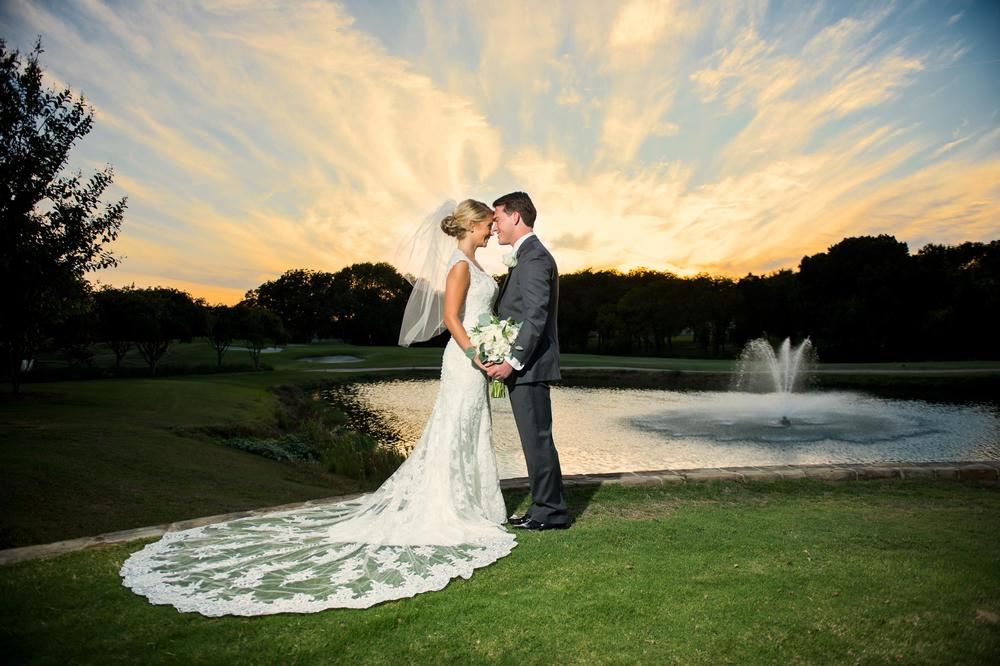 Bride & groom sunset portrait