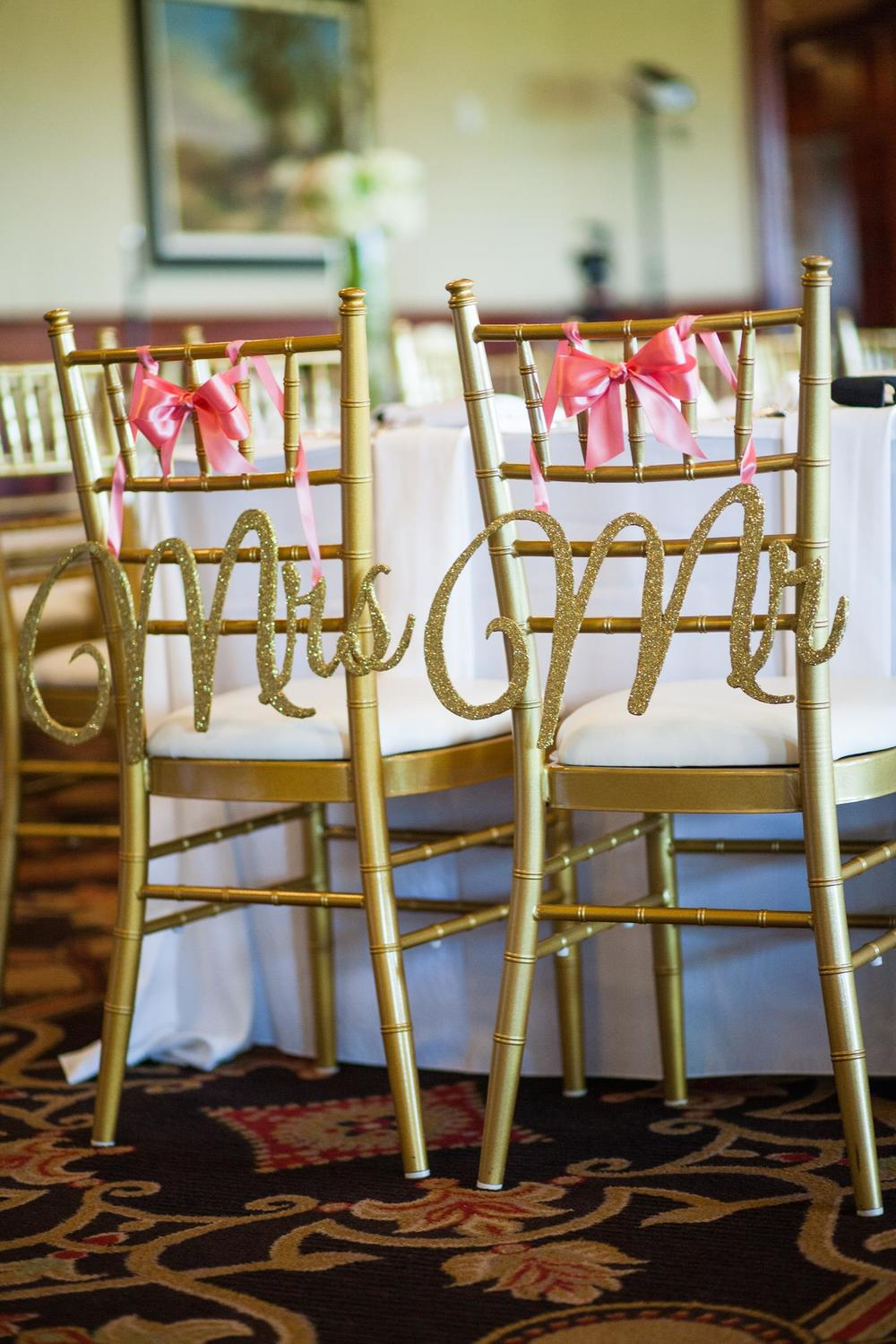 Mr. & Mrs. gold chiavari chair signs