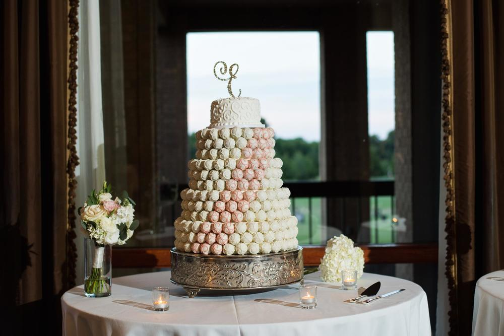 Pink & white wedding cake ball cake