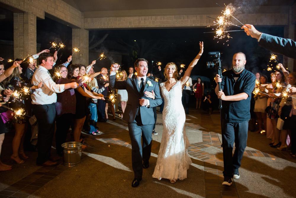 Bride & groom grant sparkler exit