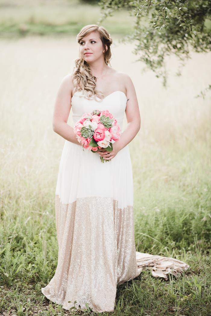 Bride in gold wedding gown