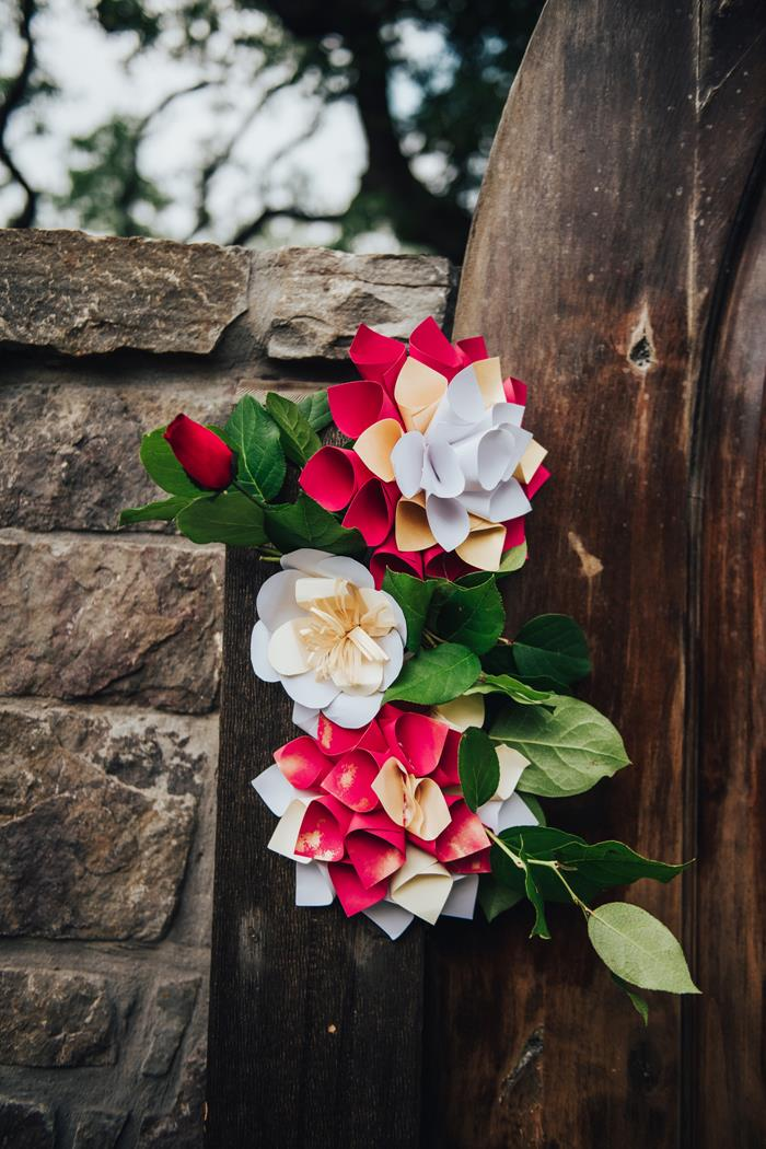 Fiesta Mexican paper flowers red white yellow