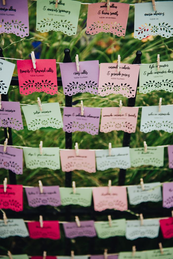 Fiesta Mexican Papel Picado Escort Cards