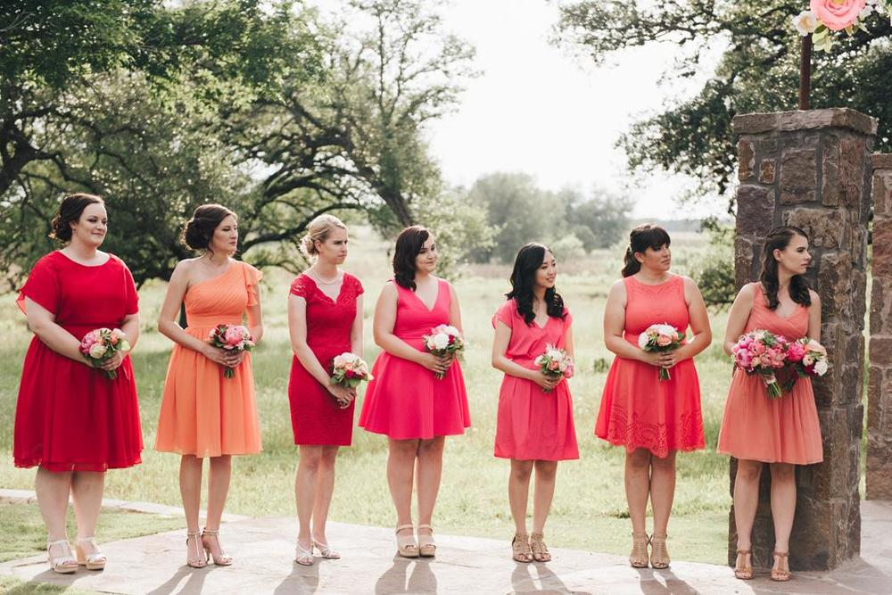 Bright Bridesmaids Dresses - pink, red, orange, coral