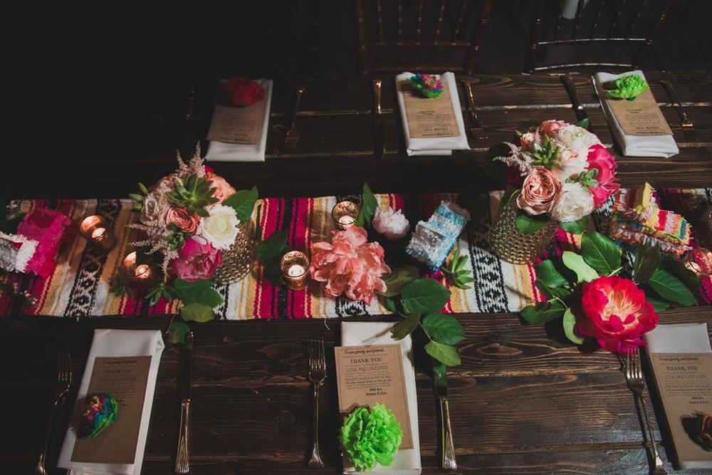 Fiesta farm table wedding reception