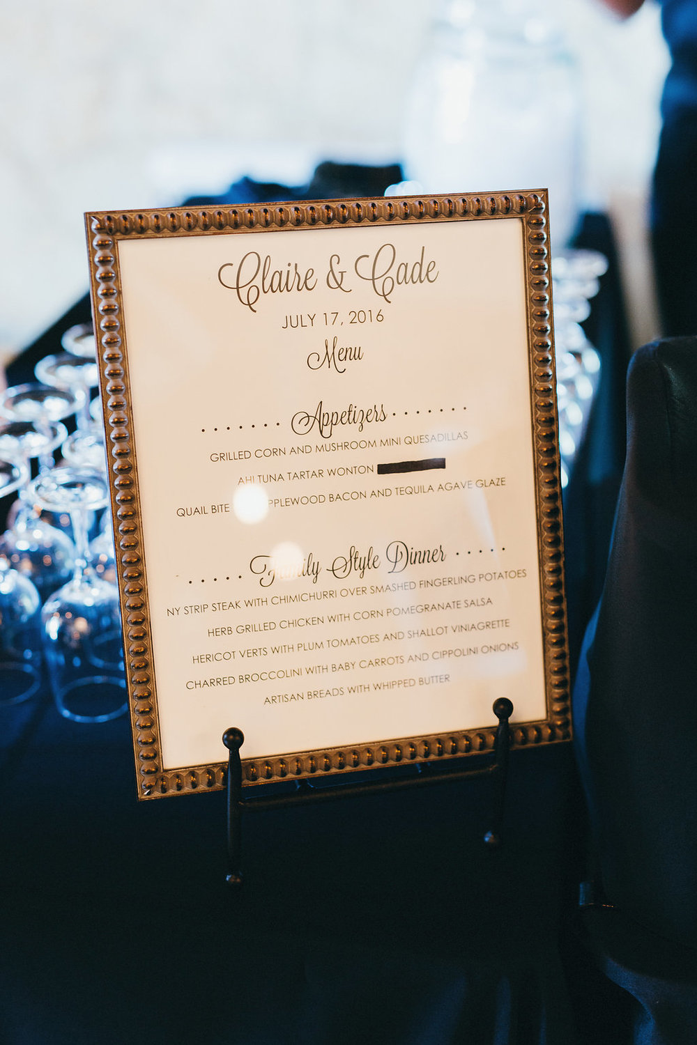 Reception menu from Altar Ego Paperie - www.grantdanielsphotography.com