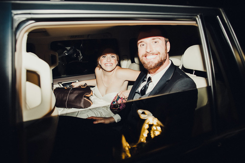 Bride & groom in getaway car at Brodie Homestead - www.grantdanielsphotography.com