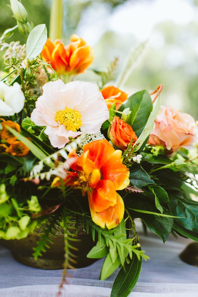 Wedding styled shoot orange peach green floral