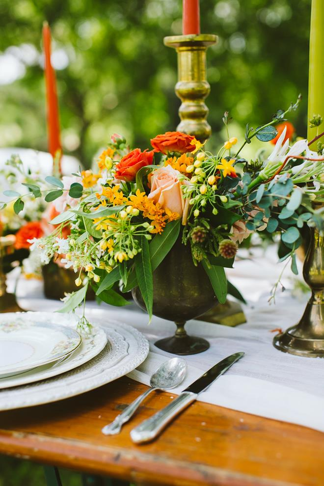 Brides of Austin fresh fall boho wedding tablescape