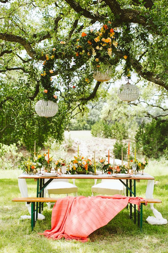 Wedding tablescape with blanket Pecan Springs Ranch