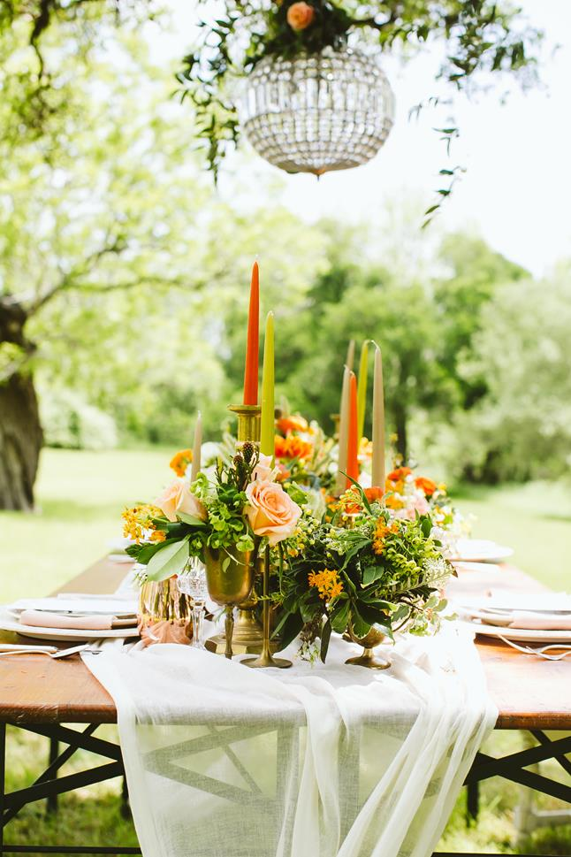 Fresh Fall Boho wedding styled shoot orange green chandelier