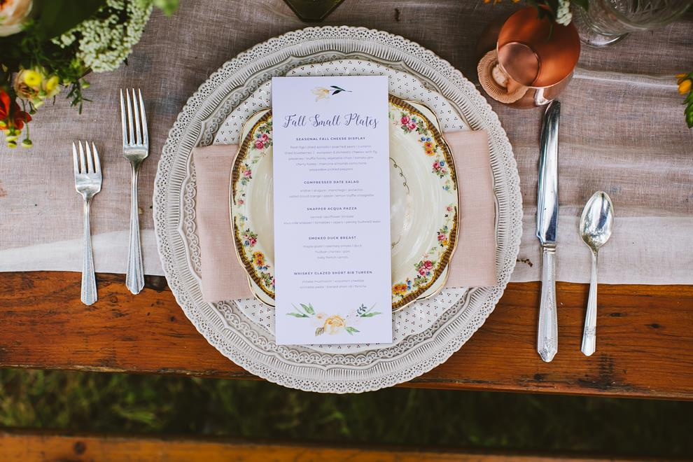Wedding place setting styled shoot
