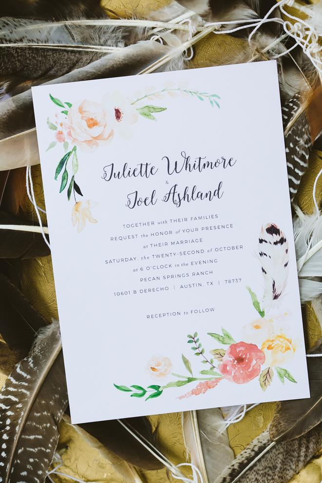 Watercolor orange peach green feather wedding invitation