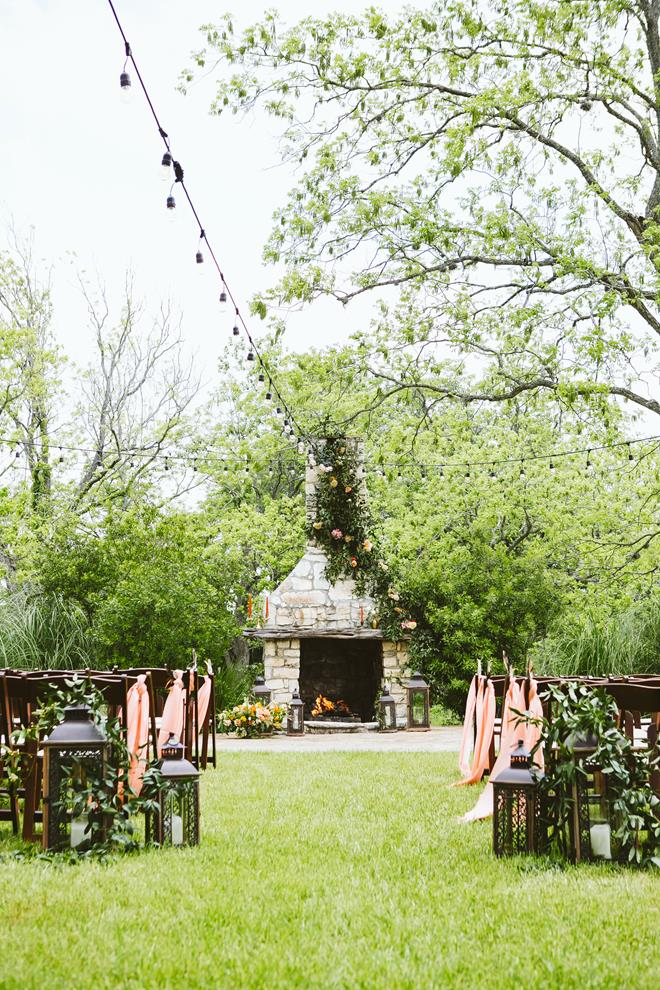 Pecan Springs Ranch fireplace ceremony setup