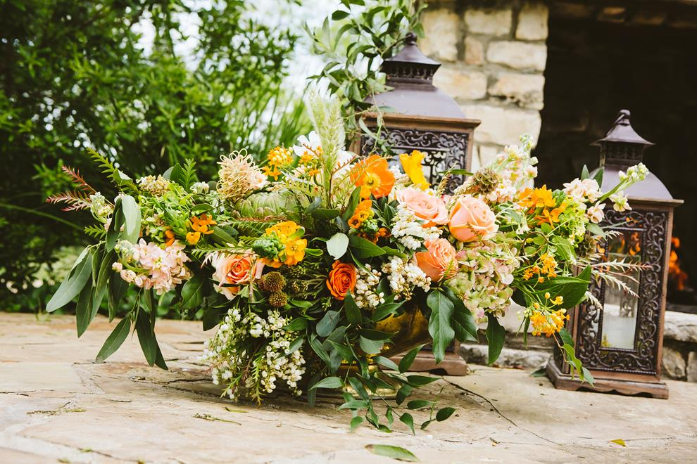 The Flower Girl ceremony arrangement with lanterns