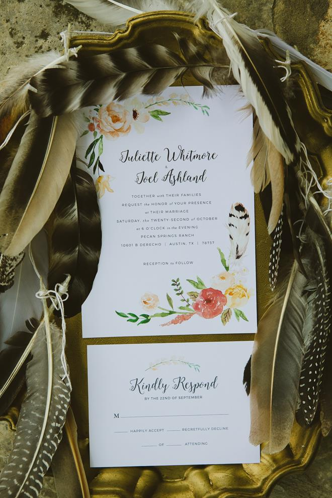 Orange peach green feather watercolor wedding invitation and response card
