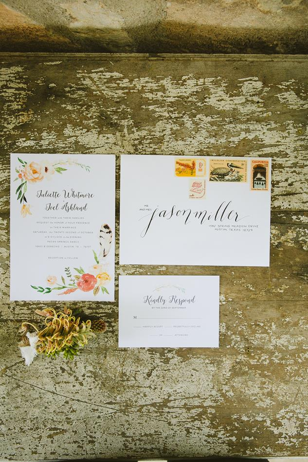 Orange Peach Green Feather Wedding Invitation Suite