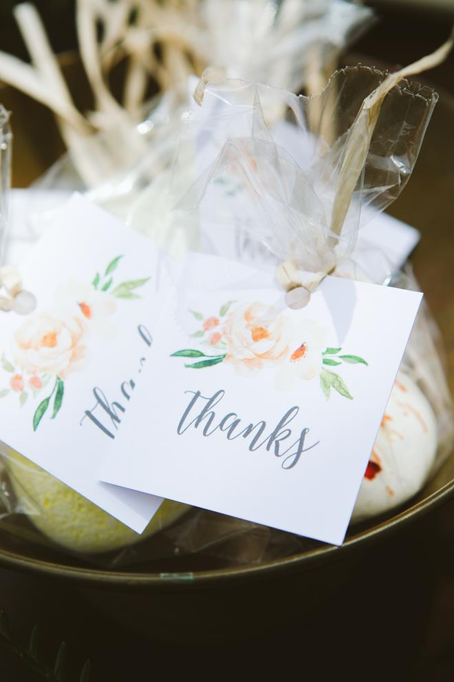 Meringue wedding favors watercolor tag