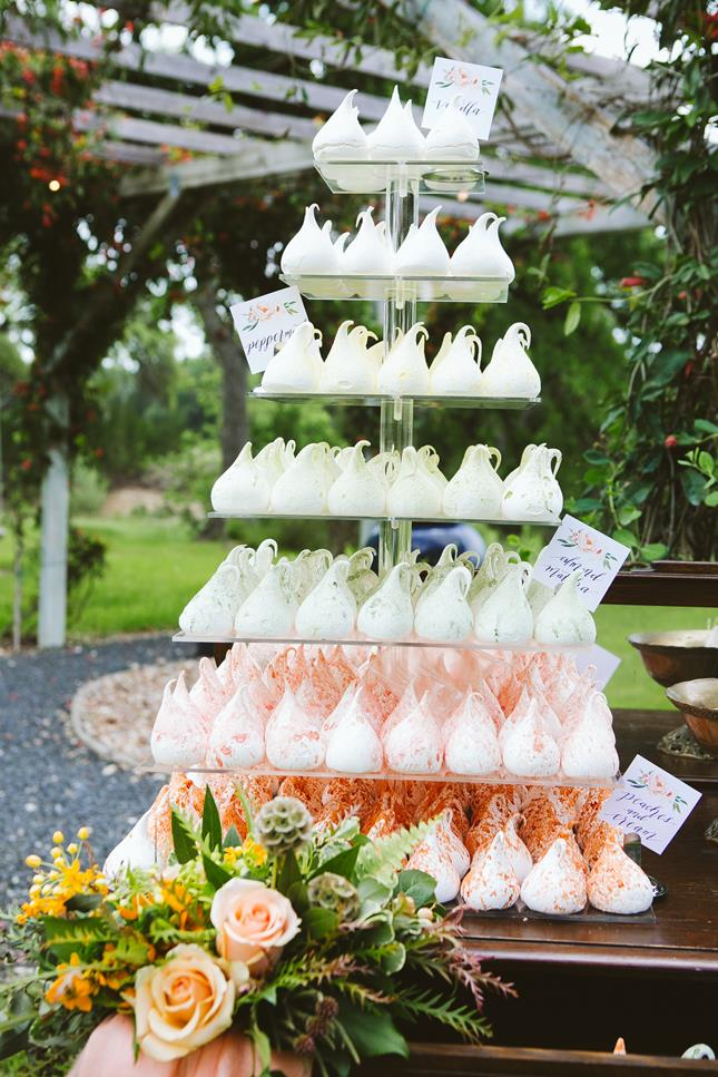 Peach orange green wedding meringue tower