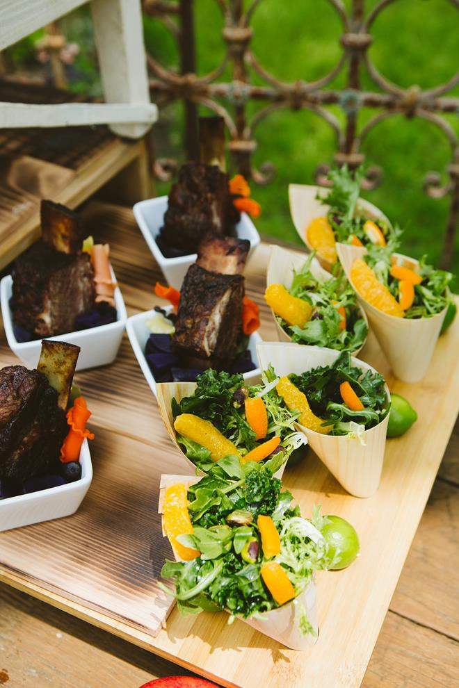 Rosemary's catering small plates cones beef