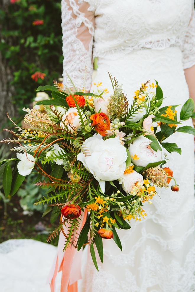 Orange peach green bridal bouquet from The Flower Girl