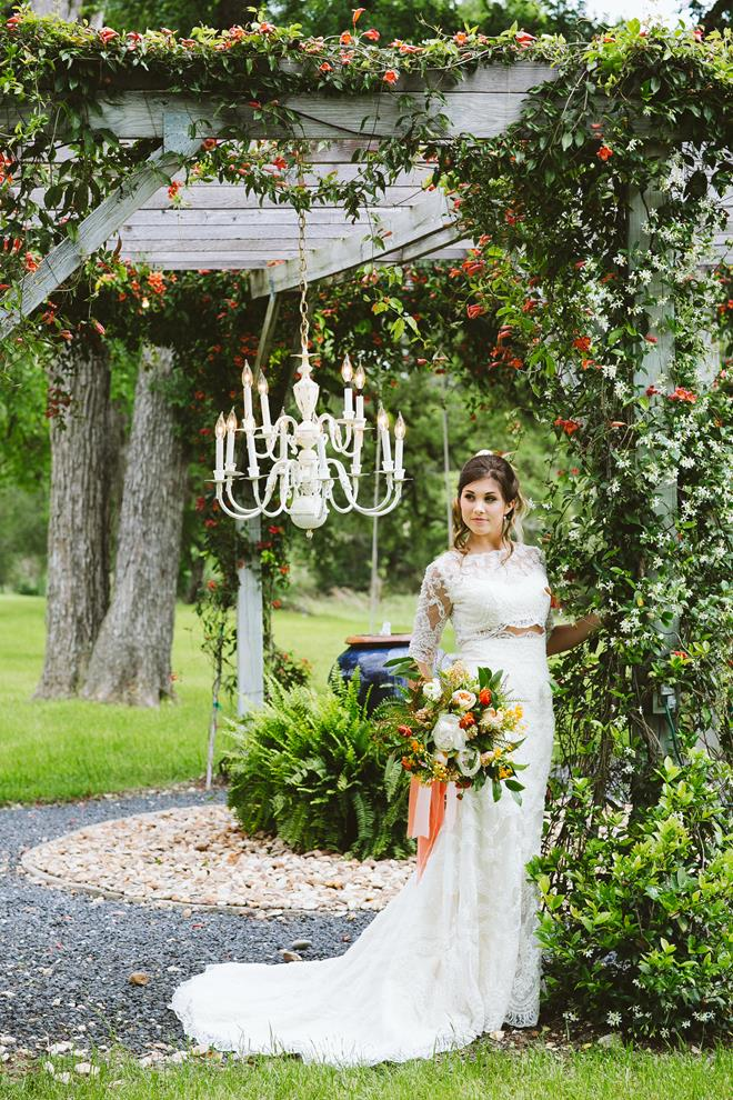 Bride at Pecan Springs Ranch water feature