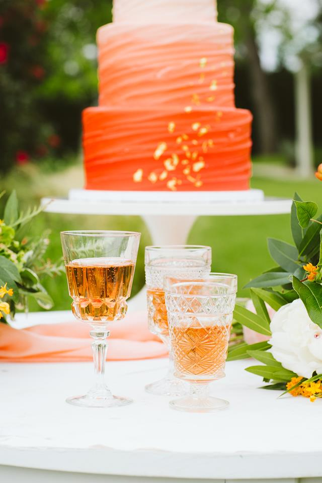 Orange ombre cake and peach drinks