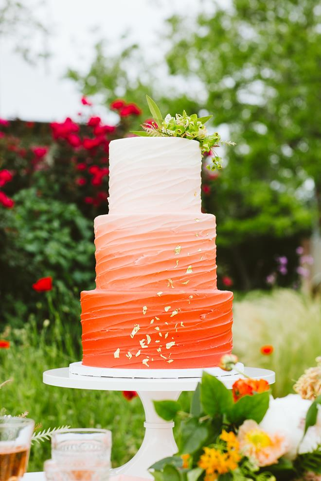 Buttercream orange ombre wedding cake