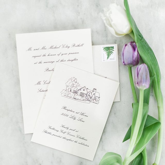Guests' first impression of a wedding is the invitation they receive. This beautiful suite perfectly set the tone for this charming and sweet wedding at home.