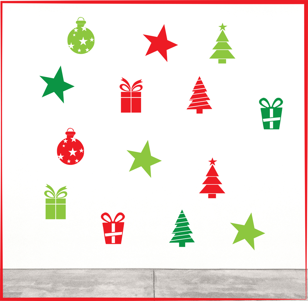 Pack 2:     Assorted Christmas  Decals - $79   Size: Each piece fits within 200 x 200mm - Pack includes 14 pieces total