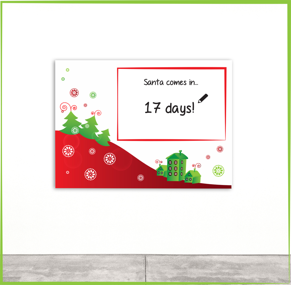 Pack 3:     Christmas Whiteboard  Decal - $49   Size: A2 (420 x 594mm) - Write a daily message/promotion or countdown to Christmas! - Text within box can be customised - Features dry erase surface