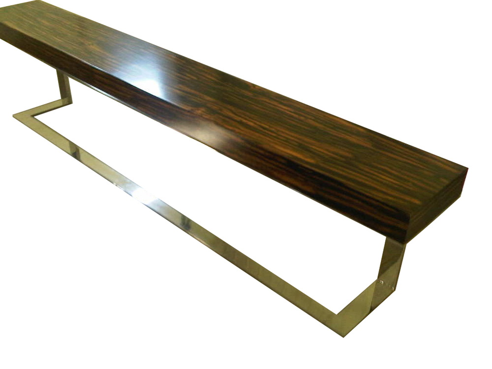 Ebony and Stainless Steel Console Table #2055