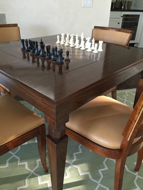 Walnut Game Table with inset flip top
