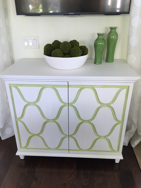 Painted Console Cabinet with Relief Patterned Doors