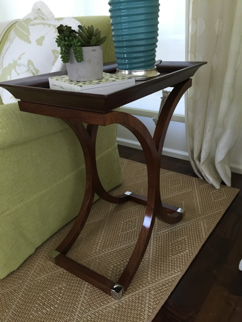 Walnut tray top side table