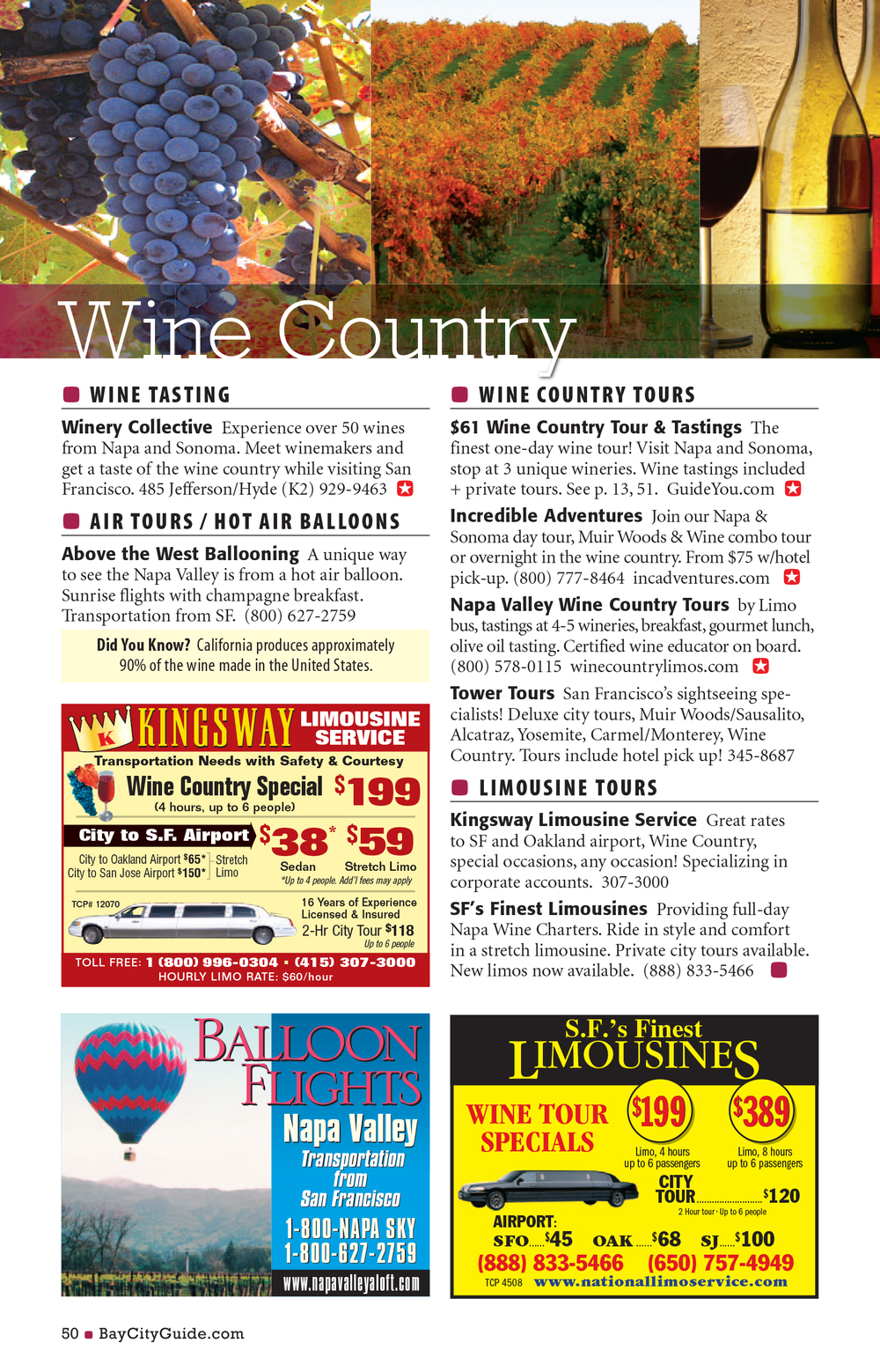 Bay City Guide magazine - Wine Country