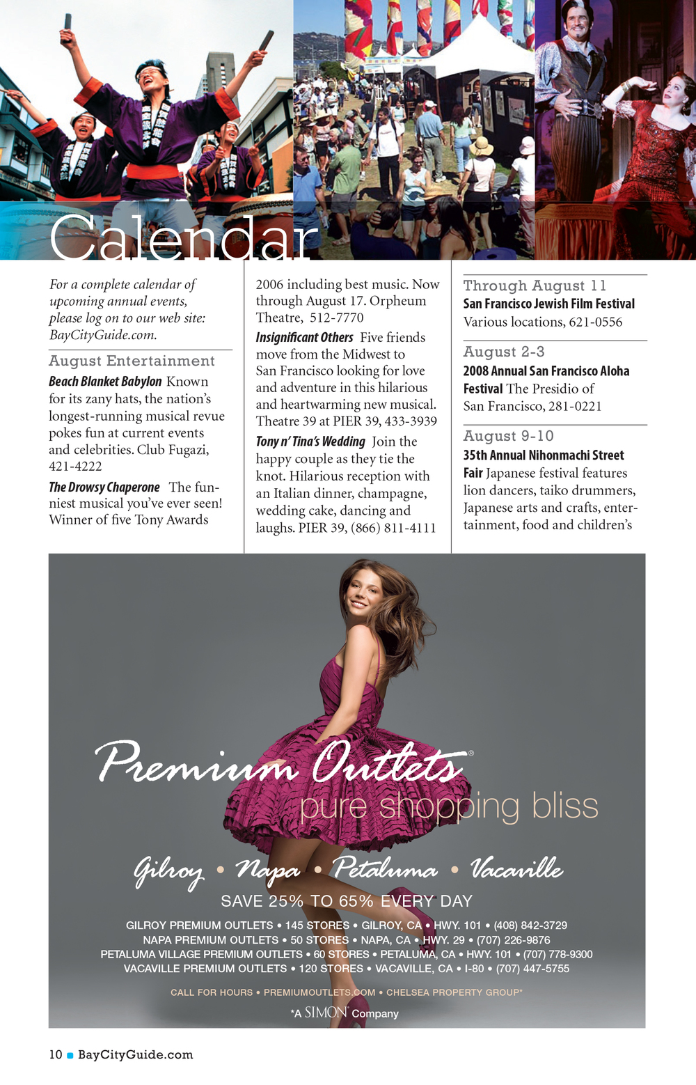 Bay City Guide magazine - Calendar
