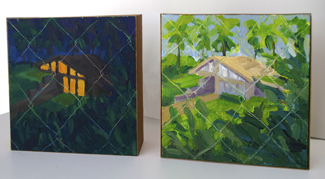 Bound(s) 1 & 2 , 2014 oil on board, 6 x 6 inches each