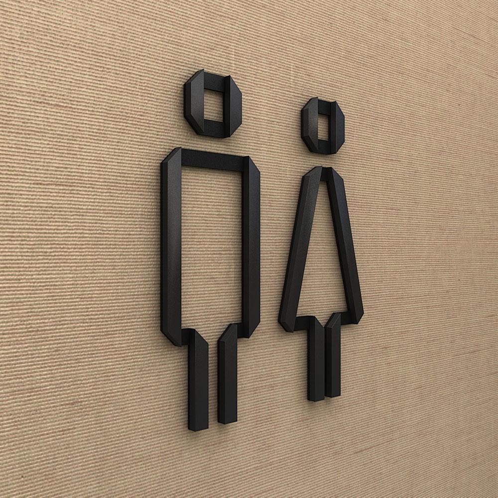 Amenity signage, black painted matte acrylic.