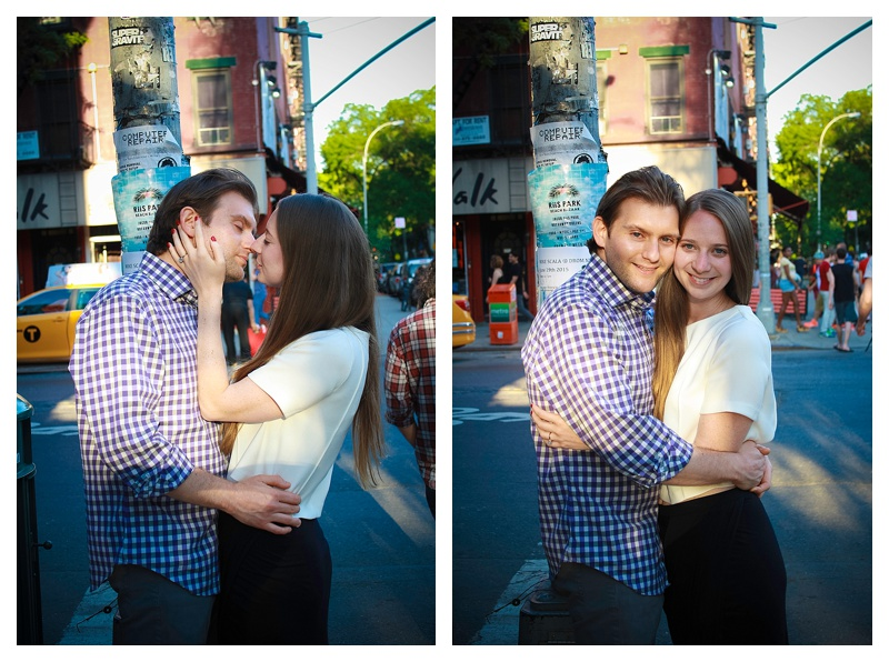 Re-creating the moment of their first kiss, which took place on this street corner!