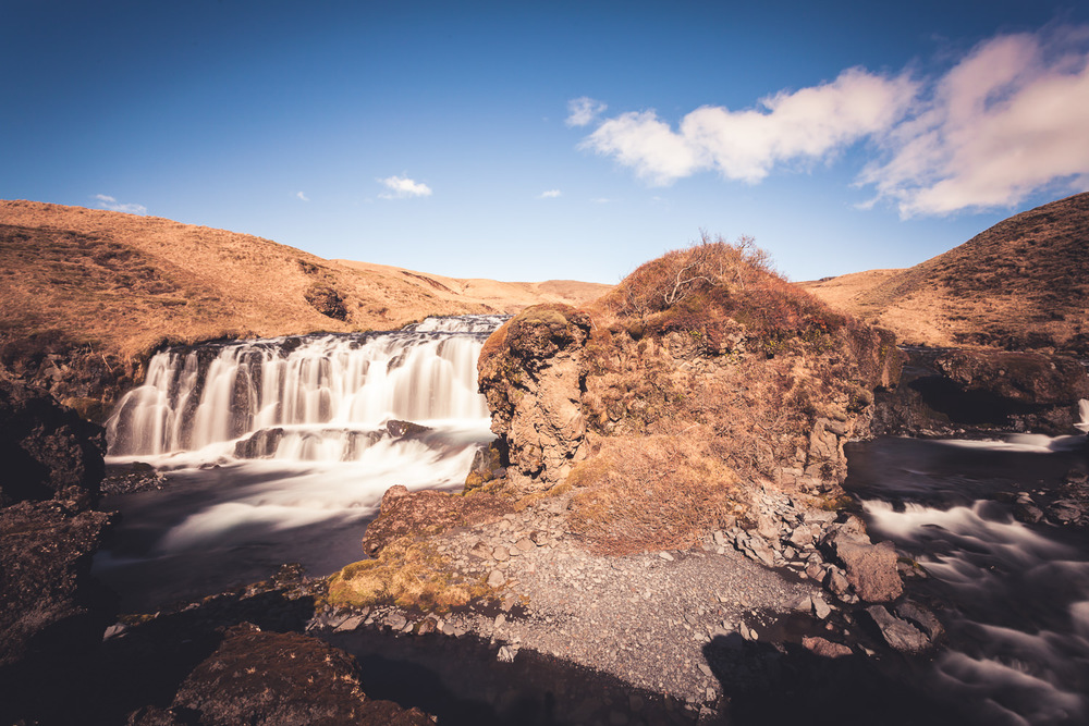 One of about 25 waterfalls which can be seen along a trail just east of Skógafoss.