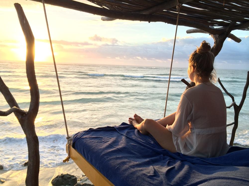 Vaknade kl. 05.30 till soluppgången i Tulum.