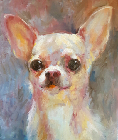 'Penny' Oil on panel 30 x 25 cm  This tiny little Chihuahua was painted using a limited palette of Transparent Maroon, Blue black, Warm White and Radiant Yellow